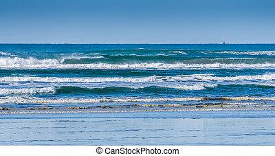 ondas, praia, longo