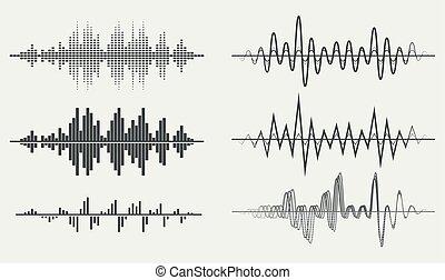 ondas, sonido, vector