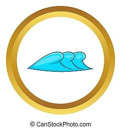ondas, três, ícone