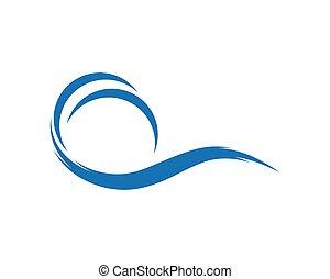 ondas, vector, mar, logotipo, azul