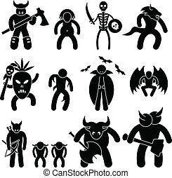 onde, ancient, kriger, karakter
