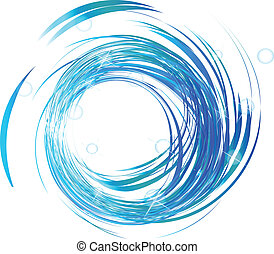 onde blu, con, luci luminose, logotipo