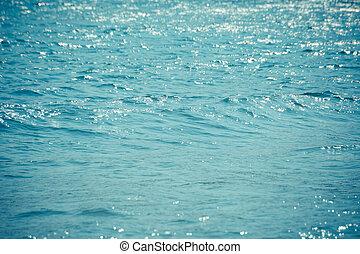 onde blu, superficie, oceano