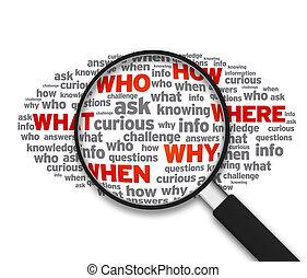 onde, quando, -, magnificar, quem, vidro, que, porque, como