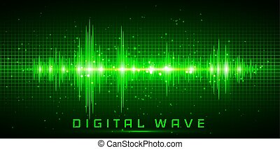 onde sonore, osciller, résumé, vagues, -, lumière, vecteur, fond, technologie numérique, lueur