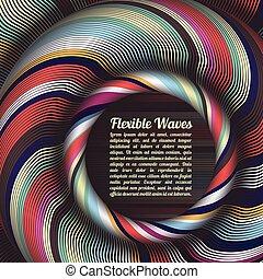 ondeado, vector, coloreado, colorido, resumen, líneas, rayas...