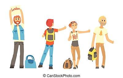 ondear masculino, vector, colección, manos, autostop, ...