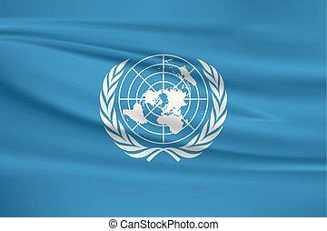 ondeggiamento bandierina, nazioni unite, illustrazione