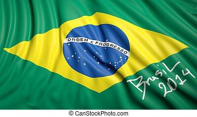 ondeggiare, bandiera, brasiliano, firma