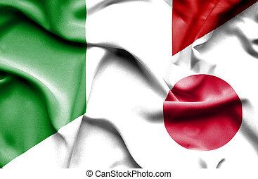 ondeggiare, bandiera giappone, italia