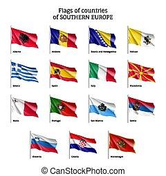 ondeggiare, bandiere europee, paesi