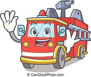 ondeggiare, camion fuoco, cartone animato, carattere