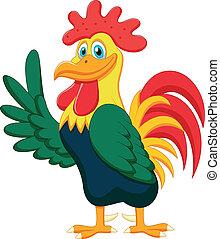 ondeggiare, carino, cartone animato, gallo