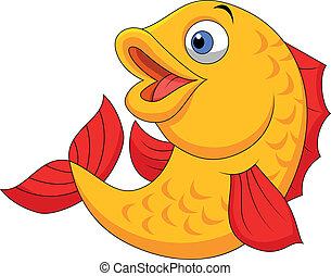 ondeggiare, carino, fish, cartone animato