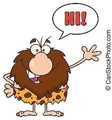 ondeggiare, detto, caveman, ciao, maschio