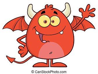 ondeggiare, diavolo, carattere, rosso, felice
