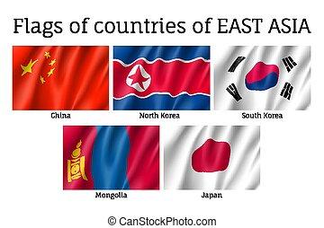 ondeggiare, est, bandiere, asiatico