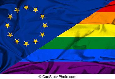 ondeggiare, eu, bandiera, orgoglio