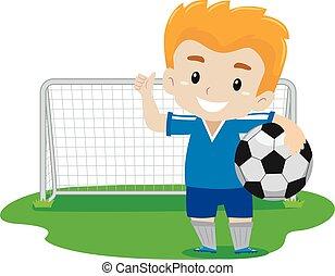 ondeggiare, giocatore, calcio, suo, mano