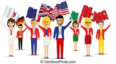 ondeggiare, grande, bandiera, gruppo, persone