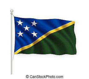 ondeggiare, isolato, bandiera, 3d, solomon, bianco, fondo., ...