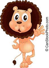 ondeggiare, leone, suo, mano sinistra