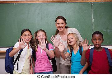 ondeggiare, macchina fotografica, insegnante, alunni, lei