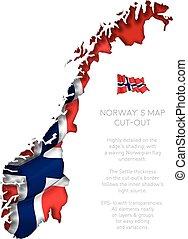 ondeggiare, mappa, bandiera, norvegia, ritaglio