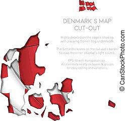 ondeggiare, mappa, bandiera, ritaglio, danimarca