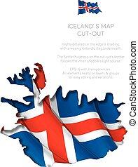 ondeggiare, mappa, bandiera, ritaglio, islanda