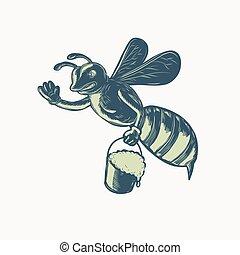 ondeggiare, miele, scratchboard, secchio, ape