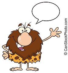 ondeggiare, parlare, caveman, maschio
