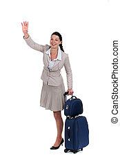 ondeggiare, qualcuno, donna, valigia