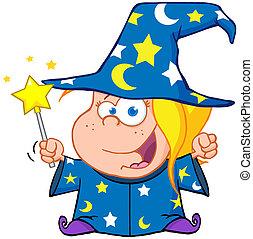 ondeggiare, ragazza, mago, bacchetta magica