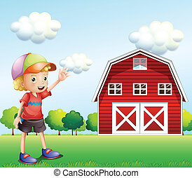ondeggiare, ragazzo, suo, barnhouse, mano