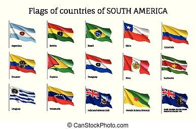 ondeggiare, realistico, bandiere, america, continente, sud
