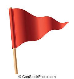 ondeggiare, rosso, triangolare, bandiera