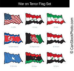 ondeggiare, terrore, bandiera, set, guerra