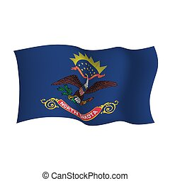 ondeggiare, unito, nord, flag., stato, stati, america., vettore, dakota