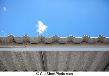 ondeggiato, amianto, tetto