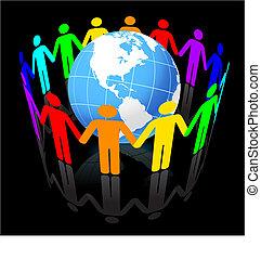 onder, eenheid, globe