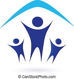 onder, -, gezin, dak, pictogram