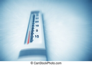 onder, nul, thermometer.