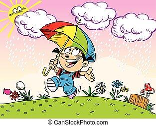 onder, paraplu, wandeling