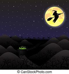 onder, volle maan, landscape, nacht
