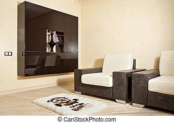 onderdeel van, interieur, met, leunstoel, tapijt, en, niche