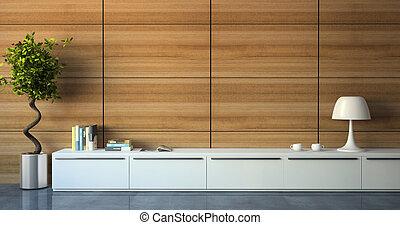 onderdeel van, moderne, interieur, met, hout, muur