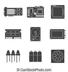 onderdelen, elektronisch, iconen