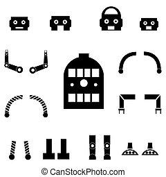 onderdelen, set, robot, pictogram