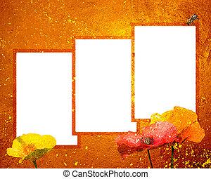 ondergaande zon , frame, grunge, drie, 8x10